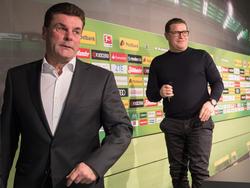 Dieter Hecking (l.) soll bei Borussia Mönchengladbach verlängern