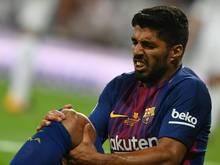 Luis Suarez verletzte sich im Supercup am Knie