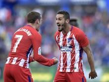 Koke (r.) erzielt den Siegtreffer für AtléticoMadrid