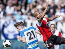 Django Warmerdam in duel met Feyenoord-middenvelder Karim El Ahmadi