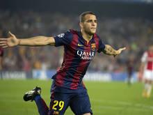 Sandro Ramirez juicht als speler van FC Barcelona. Hij maakt dit seizoen de overstap naar Málaga CF.