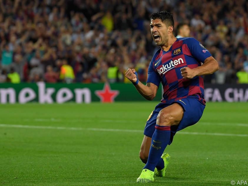 Barcelonas Luis Suarez freut sich über seinen Treffer