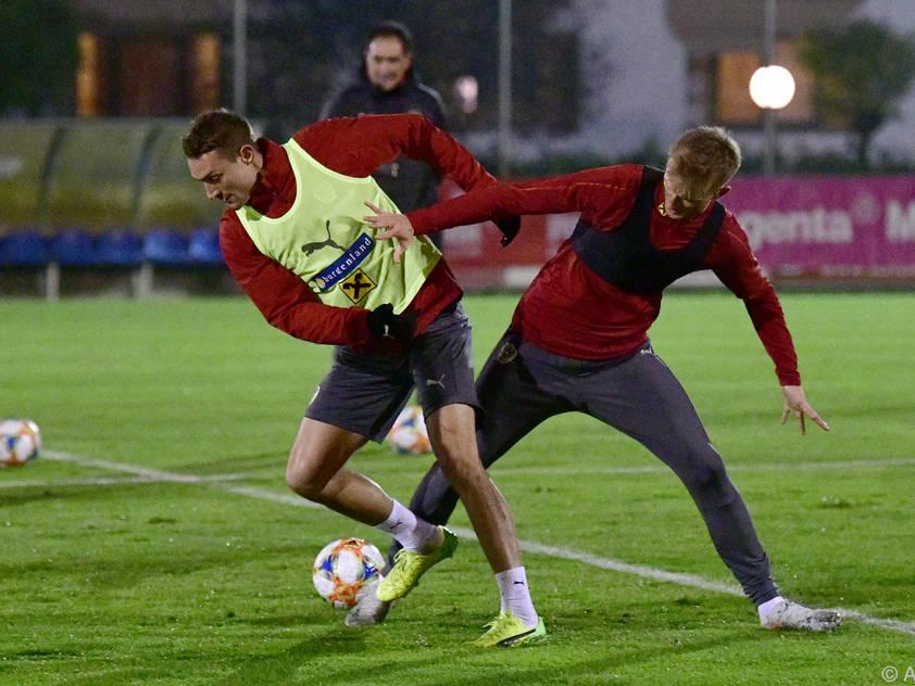 Die ÖFB-Kicker trainierten bei frostigen Temperaturen