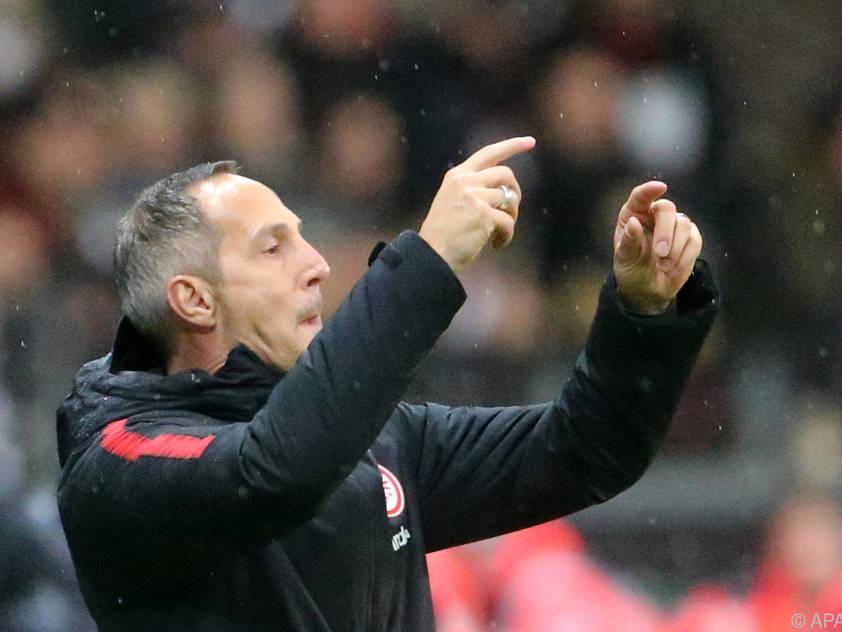 Hütter ärgerte sich  über eine Schiedsrichter-Entscheidung