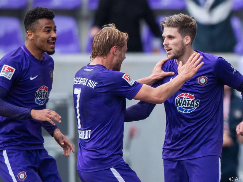Philipp Zulechner jubelte über seinen ersten Treffer für Erzgebirge Aue