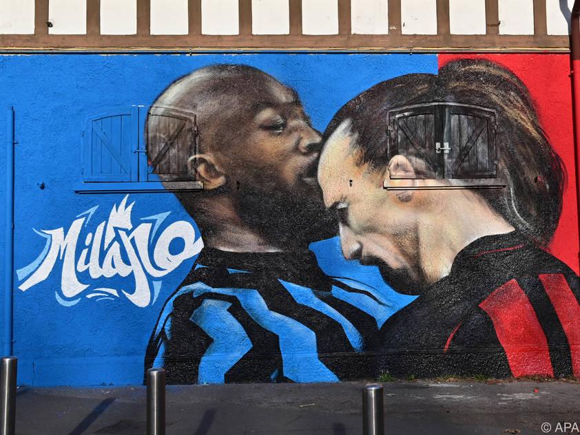 Die beiden Streithähne verewigt auf einer Mauer in Mailand