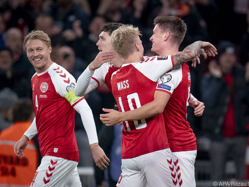 Dänemarks Freude nach dem 1:0 gegen Österreich