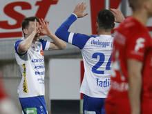 Florian Flecker (l.) fixierte Hartbergs dritten Sieg in Folge