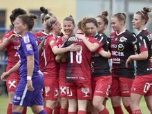 Schon 75 Mal bejubelten St. Pöltens Frauen in dieser Ligasaison Tore.