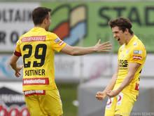 Dominik Fitz (r.) erzielte in Hartberg den Treffer des Tages