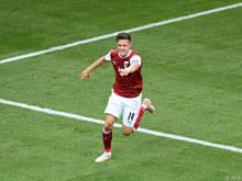 Baumgartner jubelt über sein bisher wichtigstes Tor im Nationalteam