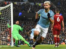 ManCity-Stürmer Sergio Agüero feiert Treffer zum 1:0 gegen Liverpool