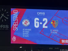 Das Spiel wurde von Winterthur nach Basel verlegt, daher wird der FCB auf der Tafel hinten angeführt