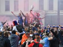 Rangers-Fans feierten den Gewinn der Meisterschaft ausgelassen