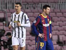 Ronaldo (l.) und Messi tragen jetzt andere Farben als im Dezember 2020