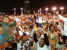 Katarische Fußballfans konnten ihr Glück kaum fassen