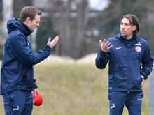 Der damalige Mainz-Trainer Schmidt (r) und Co-Trainer Svensson