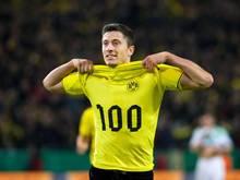 Robert Lewandowski erzielte gegen den VfL Wolfsburg sein 100. Tor für den BVB