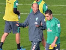 Das Team vom neuen Werder-Coach Viktor Skripnik trifft im Pokal auf den Chemnitzer FC. Foto: Carmen Jaspersen