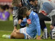 Napolis Stürmer Lorenzo Insigne hat sich schwer am rechten Knie verletzt