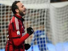 Stürmer Giampaolo Pazzini traf für den AC Mailand zum 1:0