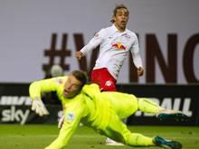 Yussuf Poulsen überwindet Keeper Michael Rensing zum 3:1-Endstand