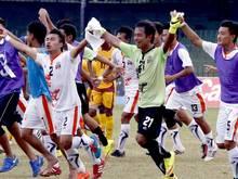 Die Spieler aus Bhutan jubeln über den Erfolg in der WM-Qualifikation gegen Sri Lanka
