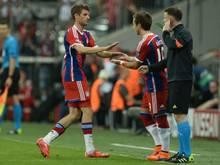 Mario Götze (M.) wurde erst in der 87. Minute für Thomas Müller eingewechselt