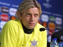 Anatoliy Tymoshchuk bei der Pressekonferenz in Lille.Foto: UEFA