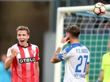 Marcel Sobottka (l.) traf zum 2:0 gegen Hansa Rostock