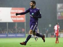 Anderlechts Massimo Bruno bejubelt seinen Führungstreffer bei Mouscron-Péruwelz