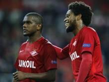 Die Spartak-Profis Luiz Adriano (r.) und Fernando waren zwei der drei Protagonisten im Tweet des Vereins