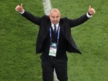 Mit Russland bei der WM auf Erfolgskurs: Trainer Stanislav Cherchesov. © Owen Humphreys/PA Wire