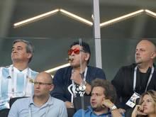 Diego Maradona (m.) trainierte sein Heimatland Argentinien bei der WM 2010