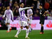 Zu Beginn hatten die Spieler von Real Valladolid (hier Anuar Mohamed) noch gut Lachen - am Ende siegte Real Madrid mit 4:1