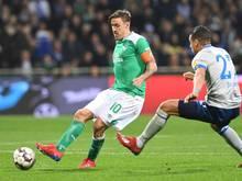 Werders Max Kruse ist im Pokal-Halbfinale gegen Bayern München voraussichtlich im Kader