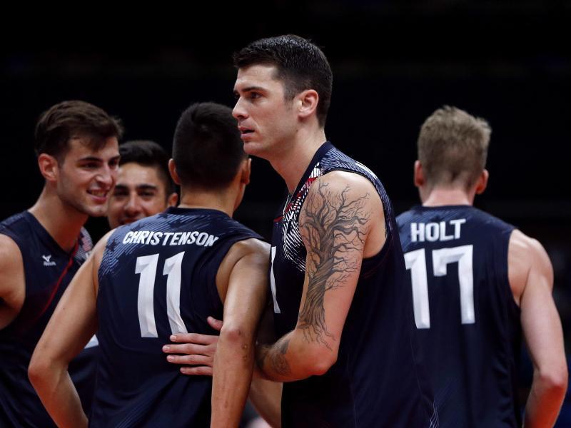 US-Volleyballer Mathew Anderson (M) steuerte elf Punkte zum Sieg gegen Polen bei