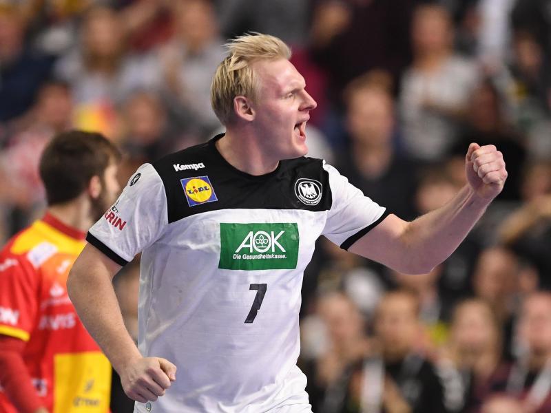 Abwehrrecke des DHB-Teams bei der Handball-WM: Patrick Wiencek jubelt