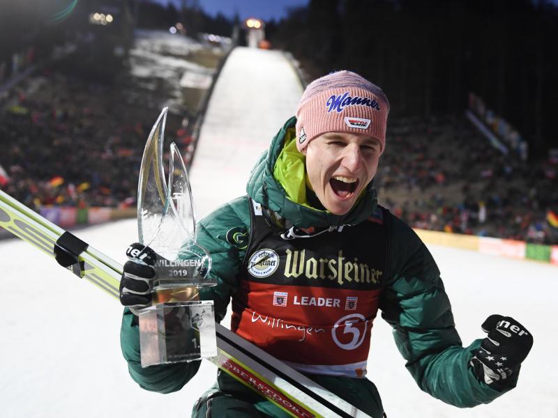 Will auch in Seefeld ausgelassen feiern: Skispringer Karl Geiger aus Deutschland
