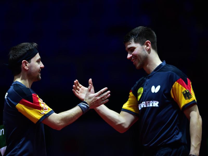 Haben das WM-Viertelfinale erreicht: Timo Boll (l) und Patrick Franziska.