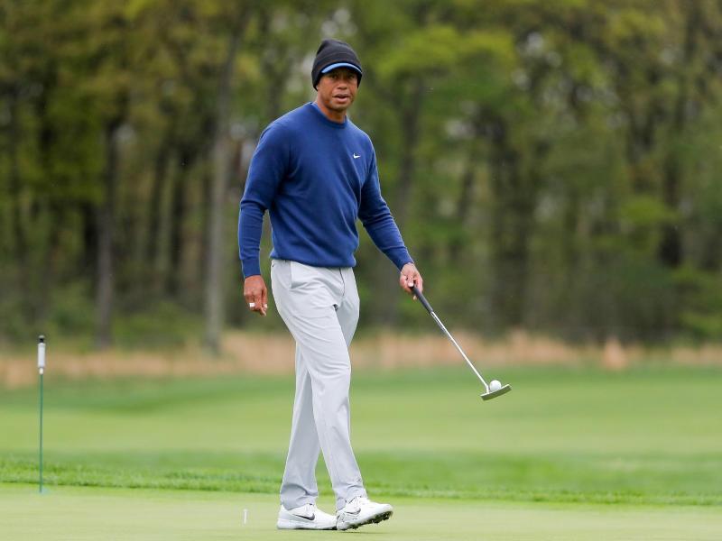 Golf-Superstar Tiger Woods beim Training für die PGA Championship