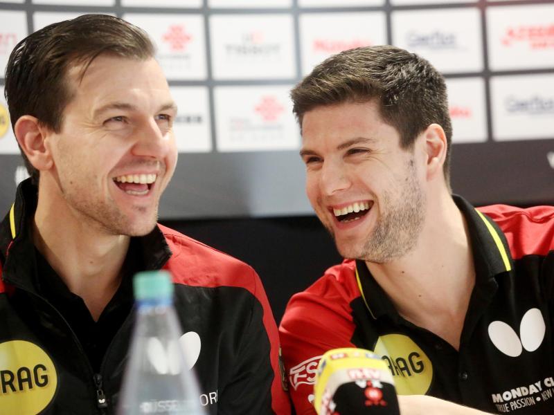 Sind zusammen mit Patrick Franziska bei der Team-EM in Frankreich an der Platte:Timo Boll (l.) und Dimitrij Ovtcharov