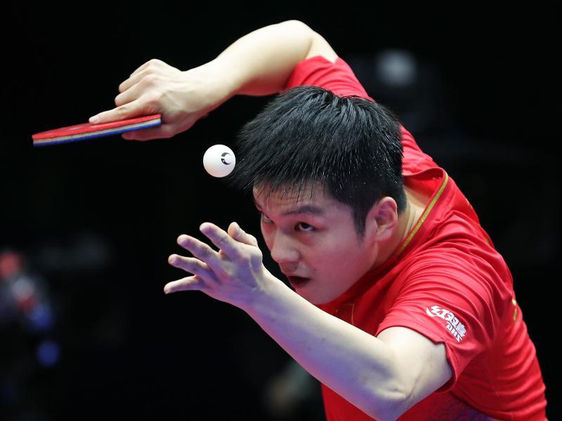 Hat erneut den World Cup im Tischtennis gewonnen: Fan Zhendong aus China in Aktion