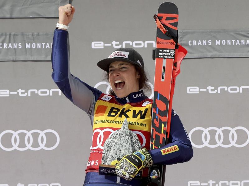 Sicherte sich den alpinen Ski-Gesamtweltcup: Federica Brignone aus Italien. Foto: Alessandro Trovati/AP/dpa