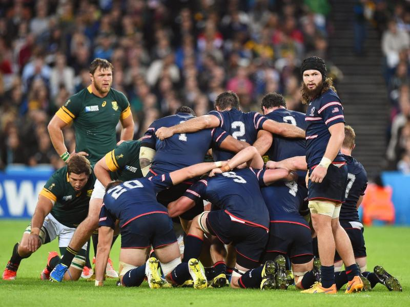 USARugby meldet Insolvenz an: Das Rugbyteam der USA beim World Cup 2015 im Spiel gegen Südafrika. Foto: Facundo Arrizabalaga/epa/dpa