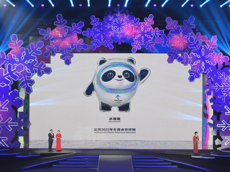 In Peking gibt es keine Pläne die Winterspiele 2022 zu verschieben: Präsentation der Maskottchen. Foto: Ju Huanzong/XinHua/dpa