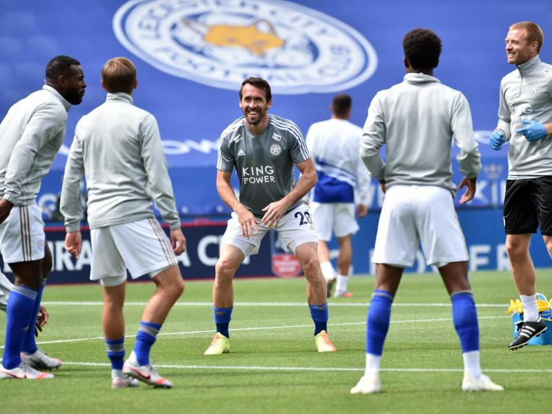 Business as usual: Die Spieler von Leicester City beim Aufwärmen