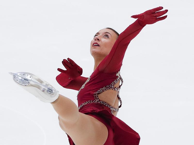 Eiskunstläuferin Nicole Schott in Aktion