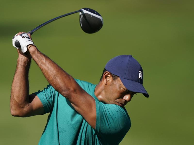 Tiger Woods beim Training im Augusta National Golf Club