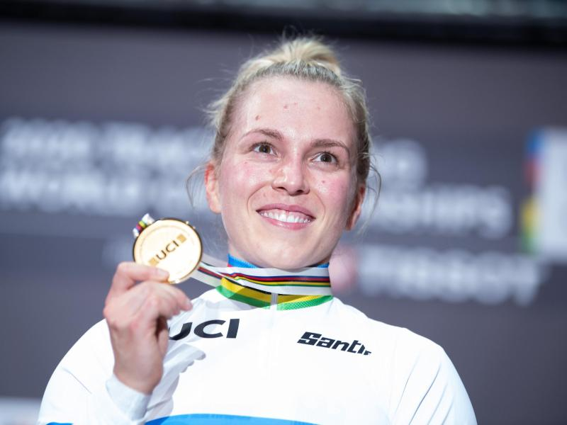 Bahnrad-Weltmeisterin Emma Hinze. Foto: Sebastian Gollnow/dpa